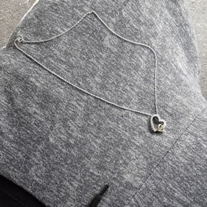 10k and 925 sterling silver heart pendant w/chain